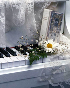 a piano and Bible